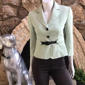 Tahari 2 Button Green Belted Blazer Leopard Print Lined Women's Size 2P